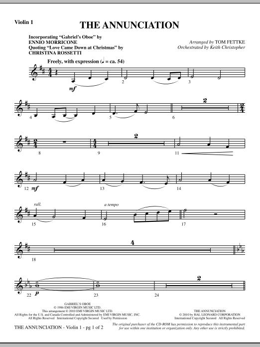 The Annunciation (incorporating Gabriel's Oboe) - Violin 1 (Choir Instrumental Pak)