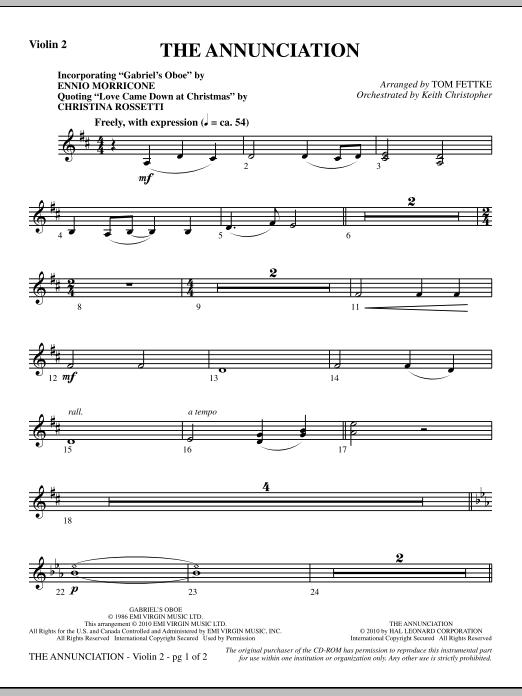 The Annunciation (incorporating Gabriel's Oboe) - Violin 2 (Choir Instrumental Pak)