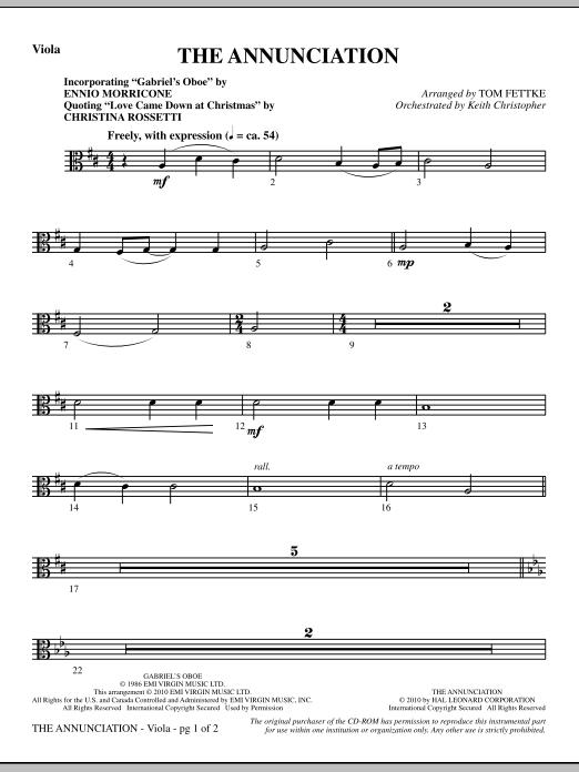 The Annunciation (incorporating Gabriel's Oboe) - Viola (Choir Instrumental Pak)