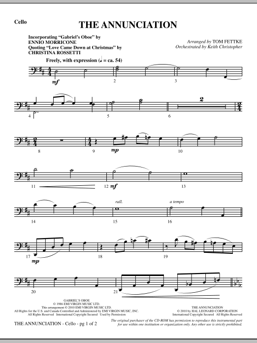 The Annunciation (incorporating Gabriel's Oboe) - Cello (Choir Instrumental Pak)