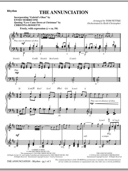 The Annunciation (incorporating Gabriel's Oboe) - Rhythm (Choir Instrumental Pak)