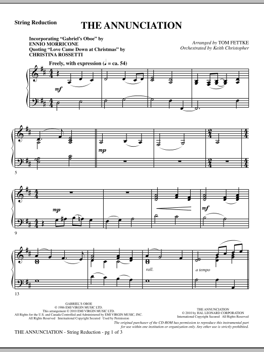 The Annunciation (incorporating Gabriel's Oboe) - Keyboard String Reduction (Choir Instrumental Pak)