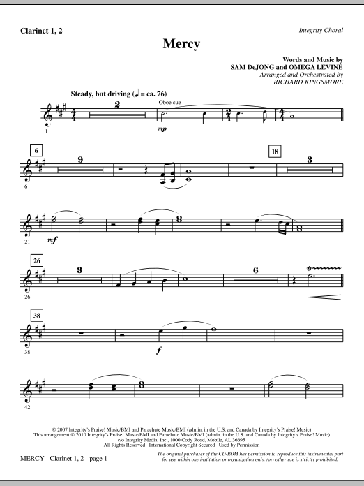 Mercy - Clarinet 1 & 2 Sheet Music