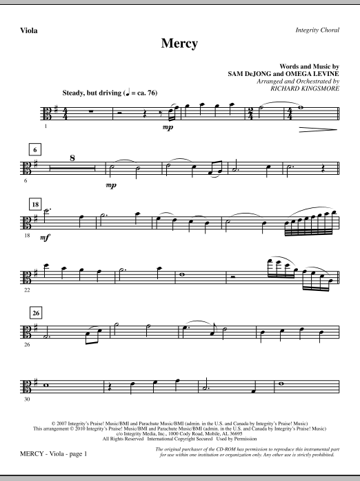 Mercy - Viola (Choir Instrumental Pak)