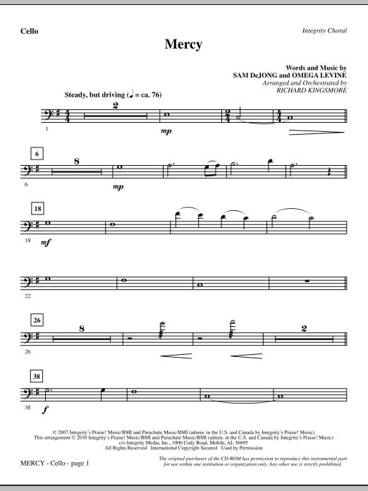 Mercy - Cello Sheet Music