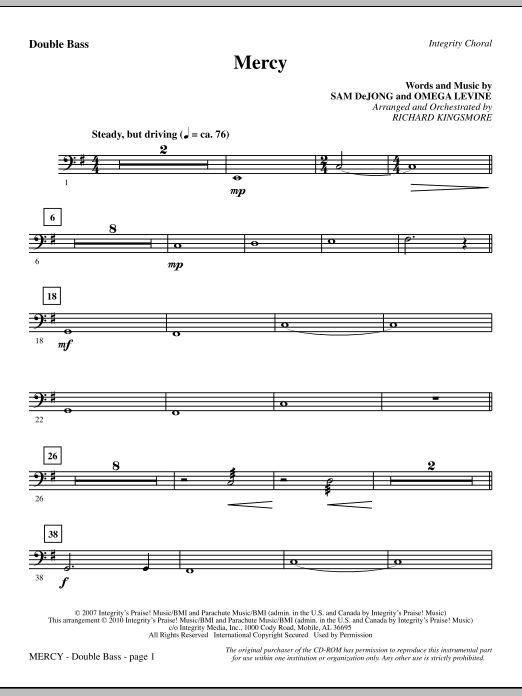 Mercy - Double Bass (Choir Instrumental Pak)