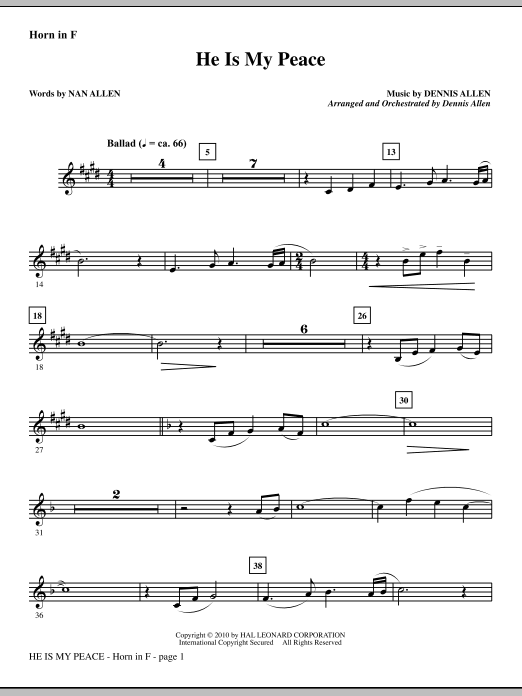 He Is My Peace - F Horn Sheet Music