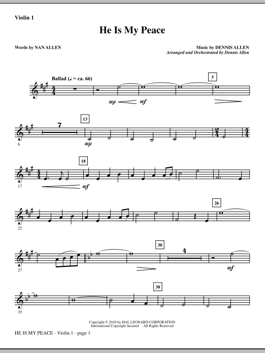 He Is My Peace (complete set of parts) sheet music for orchestra/band (Orchestra) by Dennis Allen and Nan Allen. Score Image Preview.