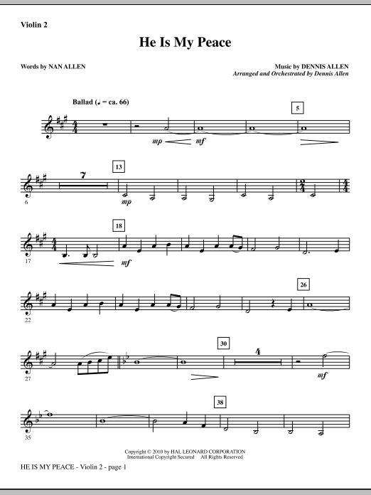 He Is My Peace - Violin 2 (Choir Instrumental Pak)