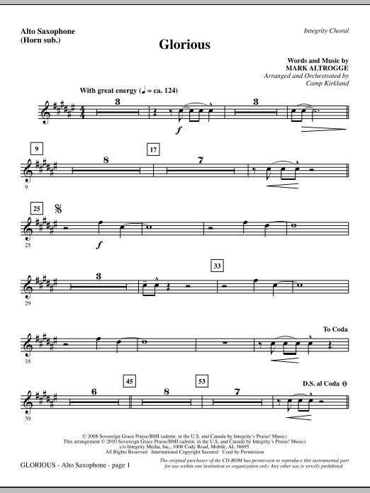 Glorious - Alto Sax (sub. Horn) Sheet Music