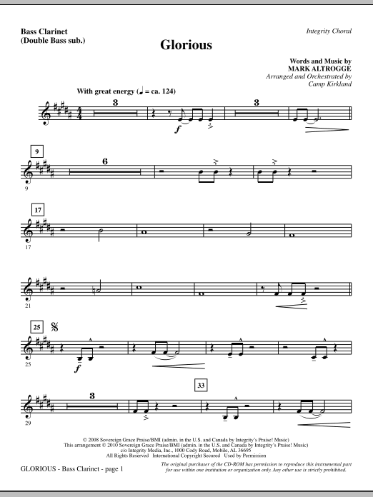 Glorious - Bass Clarinet (sub. dbl bass) Sheet Music