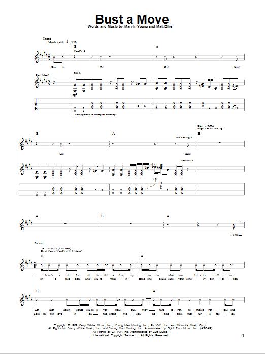 Tablature guitare Bust A Move de Young MC - Tablature Guitare
