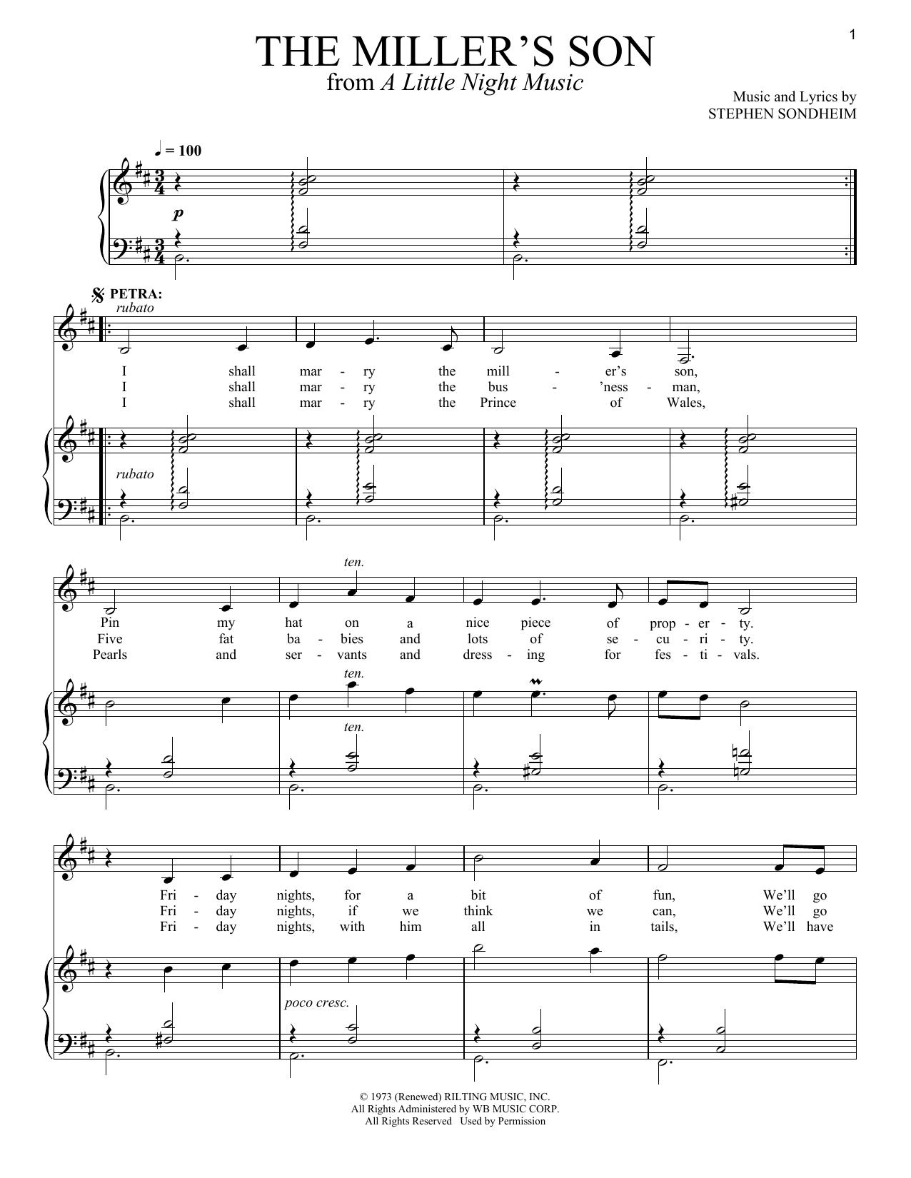 Partition piano The Miller's Son de Stephen Sondheim - Piano Voix
