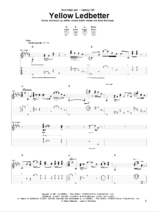 Yellow Ledbetter Sheet Music