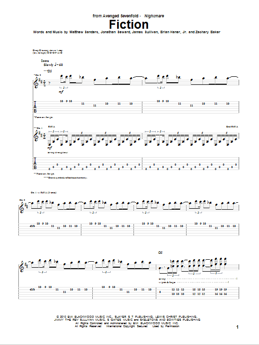 Tablature guitare Fiction de Avenged Sevenfold - Tablature Guitare