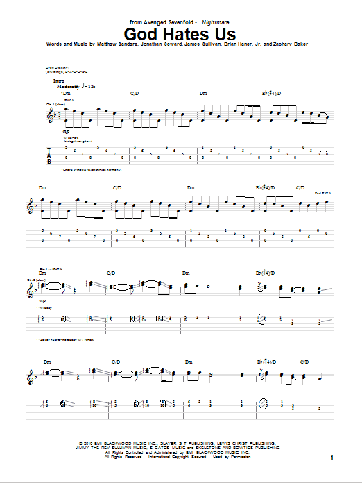 Tablature guitare God Hates Us de Avenged Sevenfold - Tablature Guitare