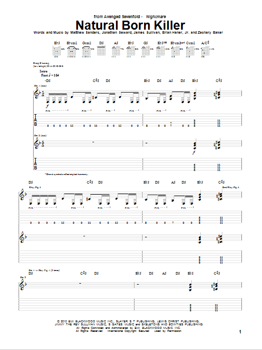 Tablature guitare Natural Born Killer de Avenged Sevenfold - Tablature Guitare