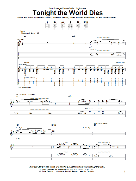 Tablature guitare Tonight The World Dies de Avenged Sevenfold - Tablature Guitare