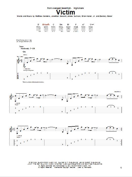 Tablature guitare Victim de Avenged Sevenfold - Tablature Guitare