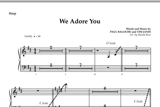 We Adore You - Harp Sheet Music