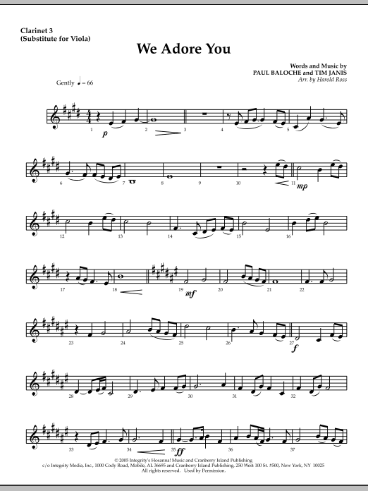 We Adore You - Clarinet 3 (Sub. Viola) Sheet Music