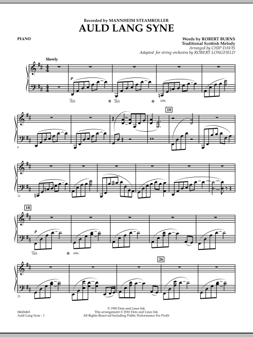 Auld Lang Syne - Piano (Orchestra)