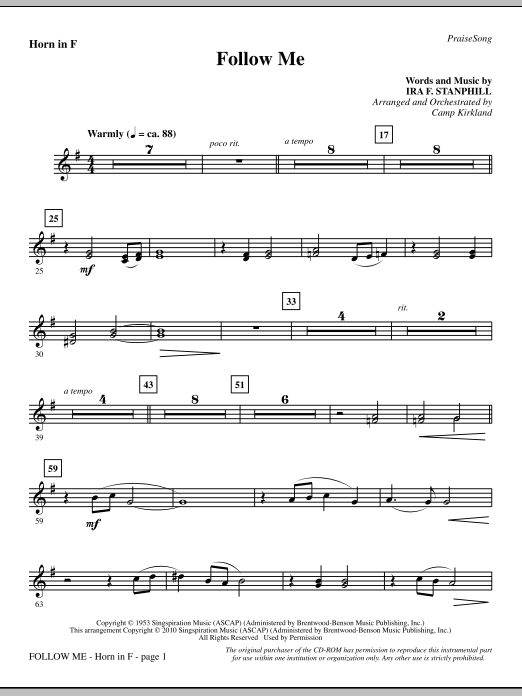 Follow Me - F Horn (Choir Instrumental Pak)