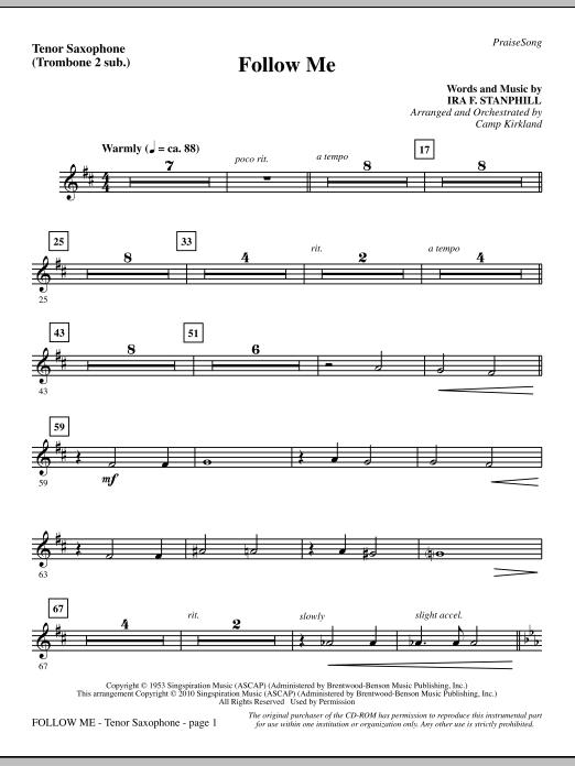 Follow Me - Tenor Sax (sub. Tbn 2) Sheet Music