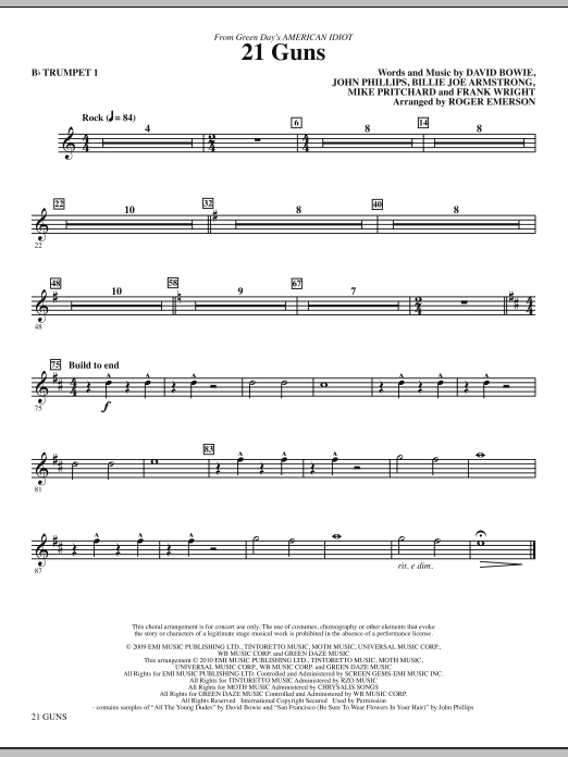 21 Guns (from Green Day's American Idiot) (complete set of parts) sheet music for orchestra/band (chamber ensemble) by Roger Emerson, Billie Joe Armstrong, David Bowie, Frank Wright, Green Day, John Phillips and Mike Pritchard. Score Image Preview.