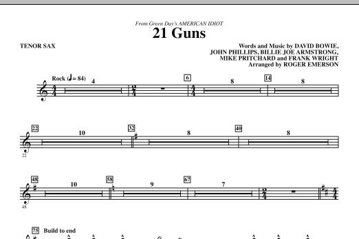 21 Guns (from American Idiot) (arr. Roger Emerson) - Tenor Sax Sheet Music