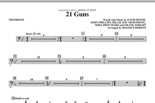 21 Guns From Green Days American Idiot Trombone Sheet Music