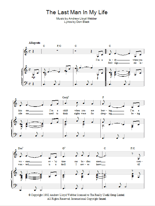 The Last Man In My Life (from Song And Dance) Sheet Music
