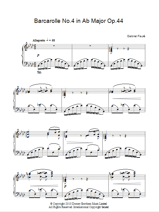 Barcarolle No.4 In A Flat Major Op.44 Sheet Music