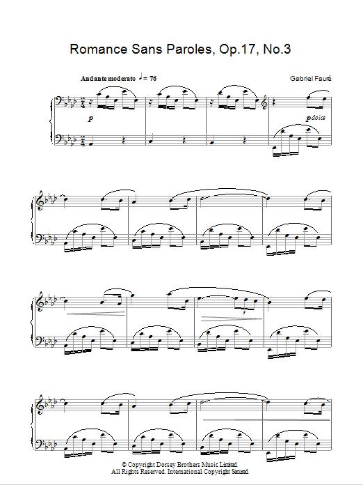 Romance Sans Paroles Op17 No3 Noten Gabriel Fauré Klavier Solo