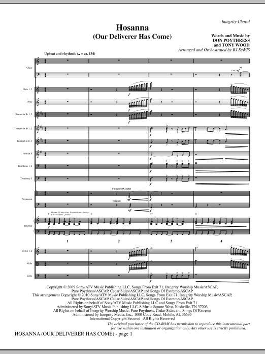 Hosanna (Our Deliverer Has Come) - Full Score (Choir Instrumental Pak)