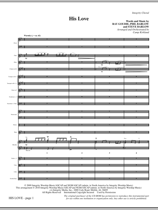 His Love - Full Score Sheet Music
