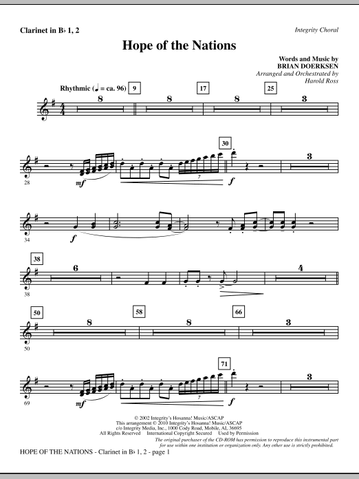 Hope Of The Nations - Clarinet 1 & 2 Sheet Music
