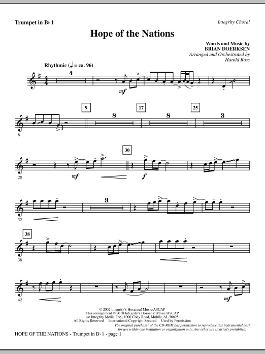 Hope Of The Nations - Trumpet 1 Sheet Music