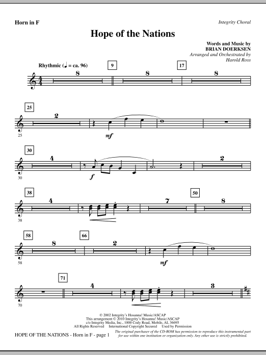 Hope Of The Nations - F Horn Sheet Music