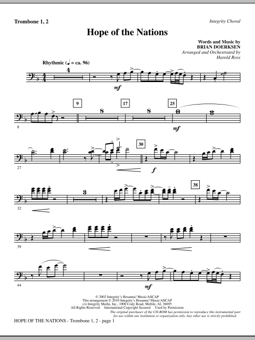 Hope Of The Nations - Trombone 1 & 2 Sheet Music