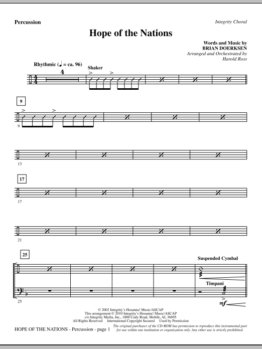 Hope Of The Nations - Percussion Sheet Music