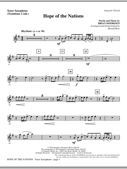Hope Of The Nations - Tenor Sax (sub. Tbn 2) (Choir Instrumental Pak)