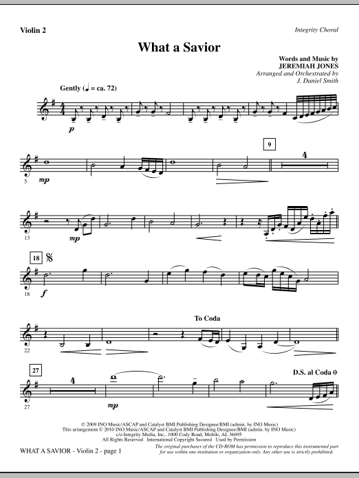 What A Savior - Violin 2 (Choir Instrumental Pak)