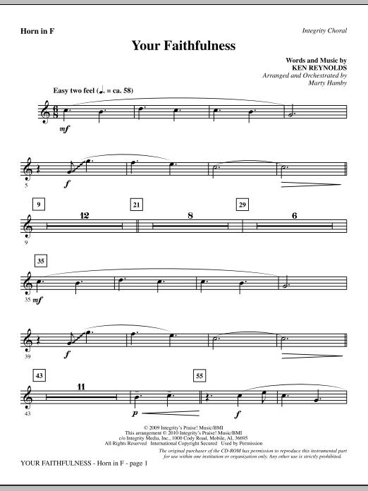 Your Faithfulness - F Horn Sheet Music