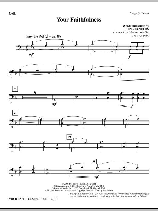 Your Faithfulness - Cello Sheet Music