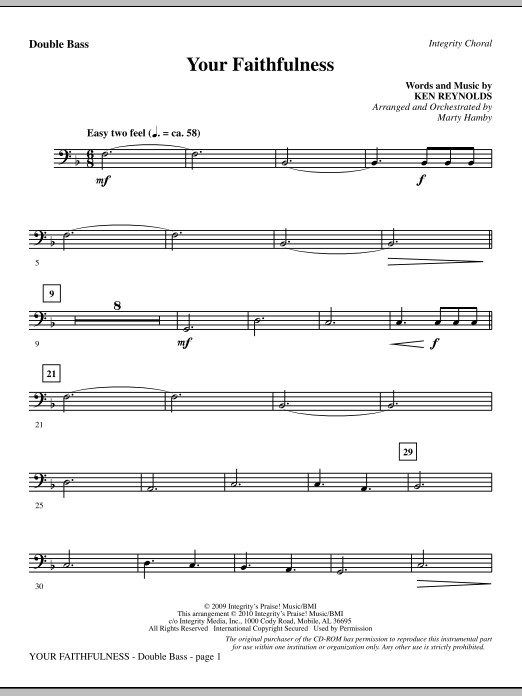 Your Faithfulness - Double Bass Sheet Music