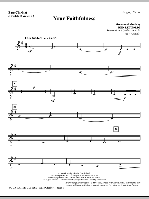 Your Faithfulness - Bass Clarinet (sub. Tbn 3) Sheet Music