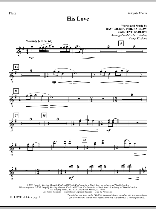 His Love - Flute (Choir Instrumental Pak)