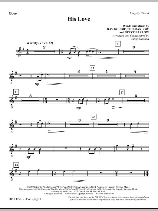 His Love - Oboe Sheet Music