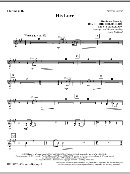 His Love - Clarinet in Bb Sheet Music
